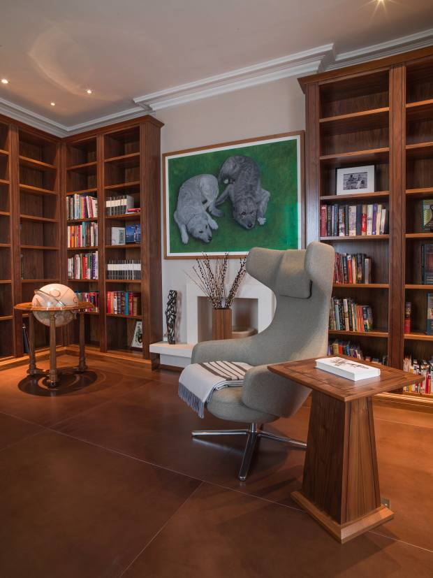 A study floor laid with Element7 leather in Tobacco 1150