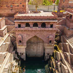 The restored Tunwarji ka Jhalra stepwell in Jodhpur