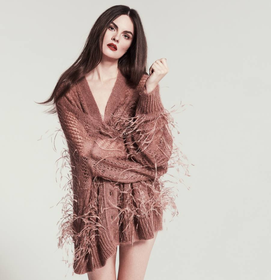 No 21 wool/mohair and ostrich feather cardigan, and cotton knit bodysuit, both price on request