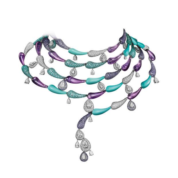 De Grisogono white gold, turquoise, amethyst, diamond, tourmaline and sapphire High Jewellery choker, price on request