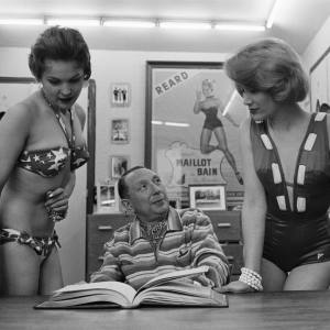 Bikini creator Louis Réard with two models in the 1940s