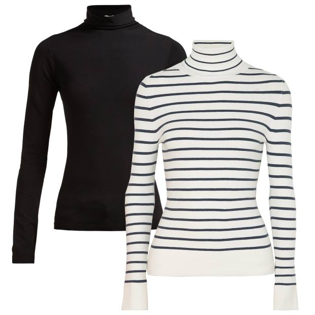 From left: The Row jersey Dronia turtleneck, £880. Joos Tricot cotton-blend turtleneck, £390