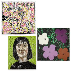 Clockwise from top: Untitled (1983) by Keith Haring, estimate on request. Warhol's Flowers (1968) by Sturtevant, estimated at £46,000 to £61,000. Winnie Fung (1989) by Julian Schnabel, estimated at £140,000 to £170,000