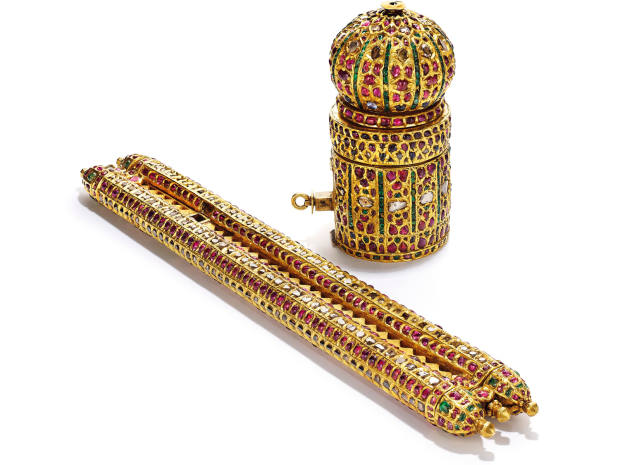 Extravagantly embellished objects under the hammer include a late 16th-century gold pen case and inkwell, estimate $1.5m-$2.5m