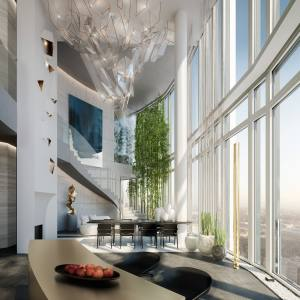 South Bank Tower's duplex penthouse, with bespoke interiors by American designer Dara Huang of Design Haus Liberty