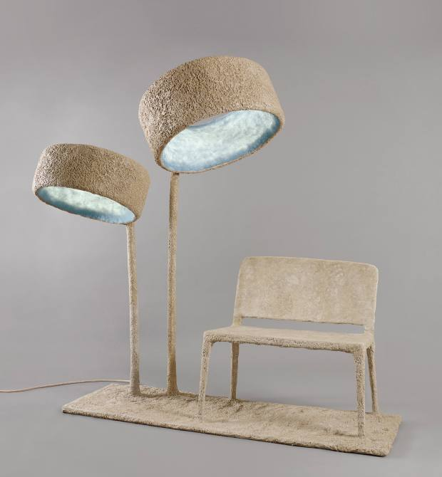 Nacho Carbonell paverpol, pigment, sand, silicone, steel and LED Luciferase table light sculpture, from €9,000