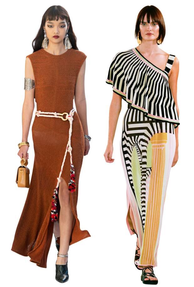 From left: Chloé cotton-knit dress, £1,520. Temperley viscose dress, £695