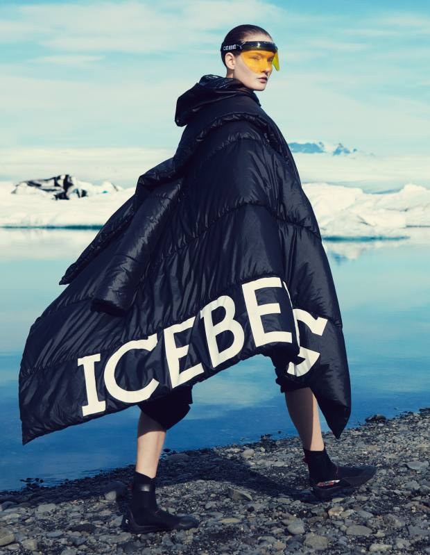 Iceberg nylon coat, price on request. Chanel lambskin jacket (just seen), £11,260, £898. JW Anderson polyester trousers, £535. Cébé Pursuit visor, £29. O'Neill Heat RT boots, £40