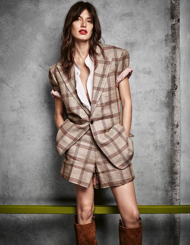 Andreas Kronthaler for Vivienne Westwood linen blazer, £3,300, matching shorts, £1,395, cotton shirt, £870, and suede boots, price on request