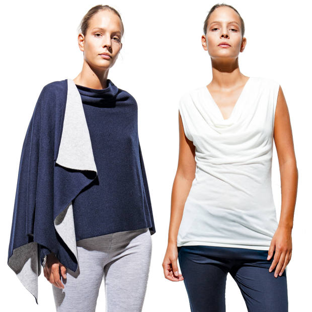 From left: Cariaggi cashmere reversible wrap, €797. Milk-protein fabric draped top, €109