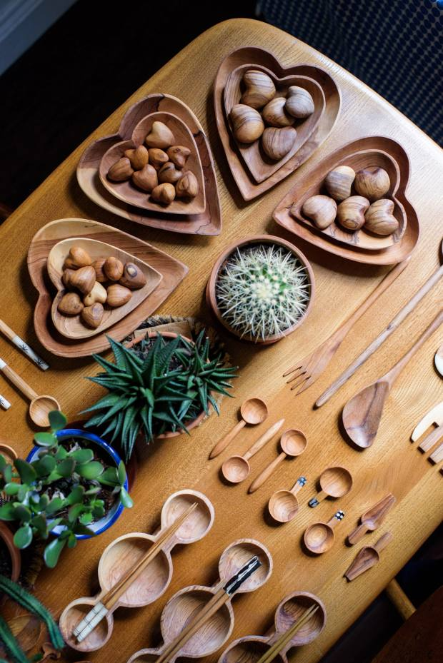 The homewares include hand-carved wooden spoons, forks and serving dishes, from £4 to £25