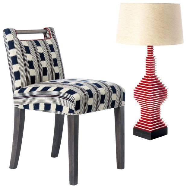 Kit Kemp Handle chair, £950, and acrylic and wood Rocket table lamp, £650