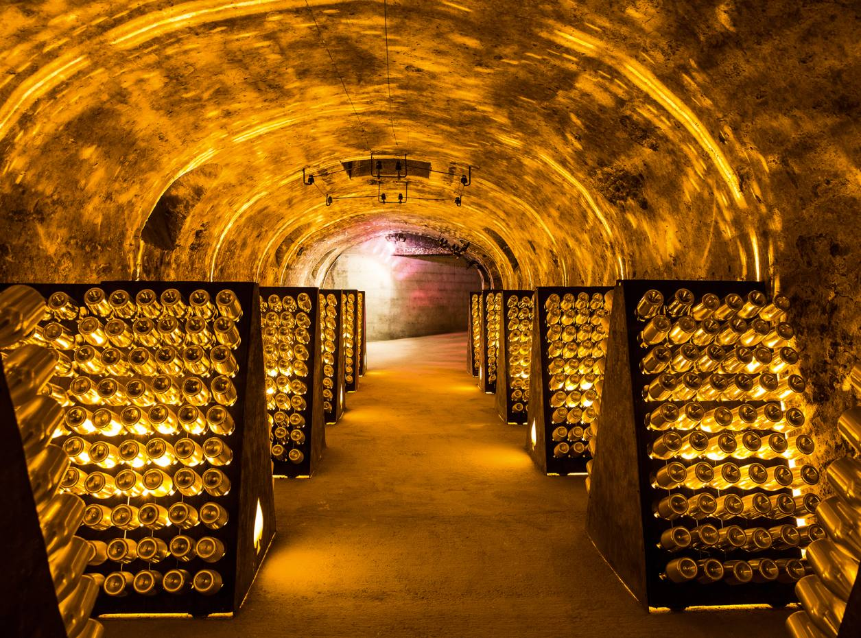 Goldmine: bottles of Armand de Brignac champagne in the Cattier cellars, in Montagne de Reims