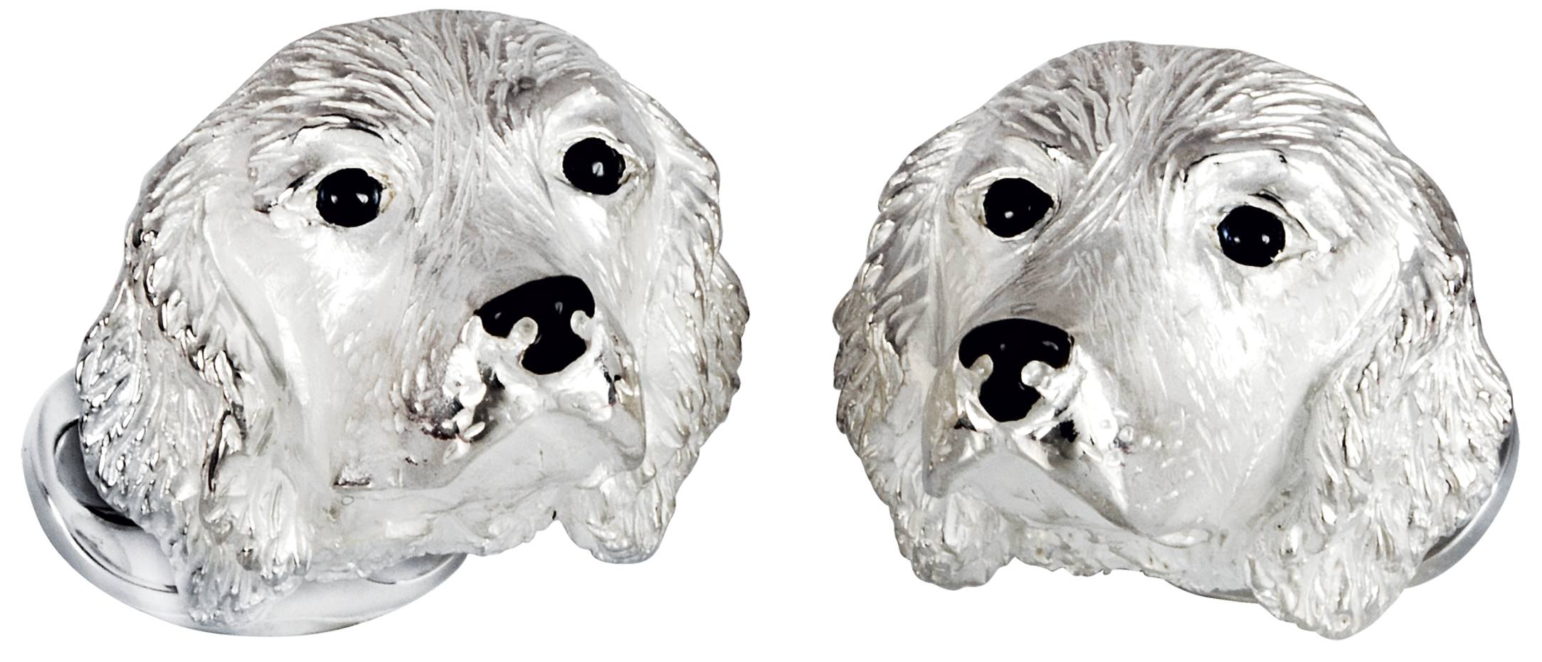 Silver and sapphire Spaniel cufflinks, £300; 10 per cent of proceeds go to the Dogs Trust (dogstrust.org.uk)