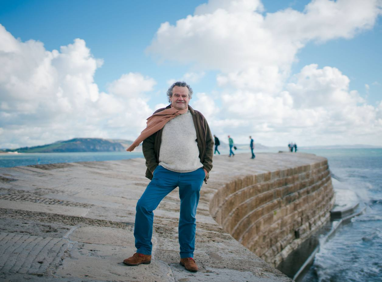 Mark Hix on the harbour wall at Lyme Regis, Dorset