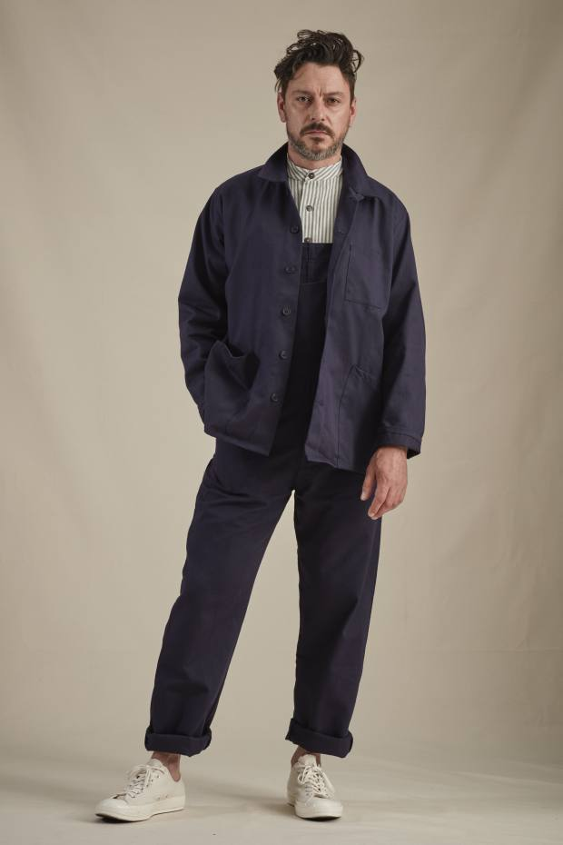 Carrier Company Norfolk work jacket, £110, dungarees, £95 and collarless work shirt, £97.50