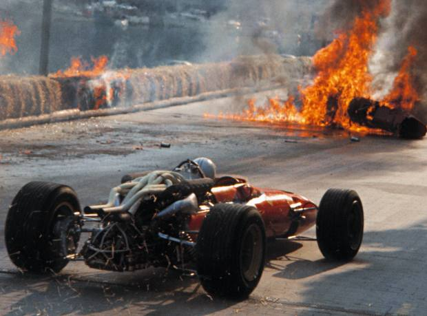 A photograph illustrating the dangers of F1 that resulted in Bernie Ecclestone appointing Sid Watkins to attend to the medical aspects of the sport