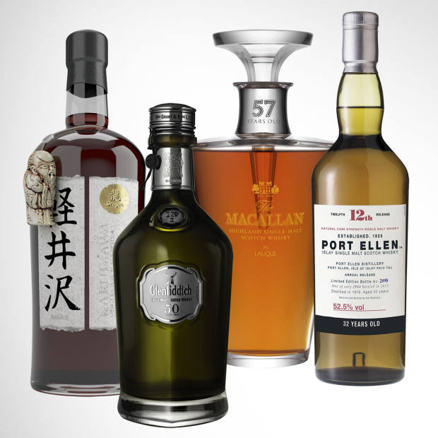 From left: 1960 Karuizawa, £10,000, 50-year-old Glenfiddich, £11,750. 57-year-old Macallan Lalique, £13,999. 32-year‑old Port Ellen, £600