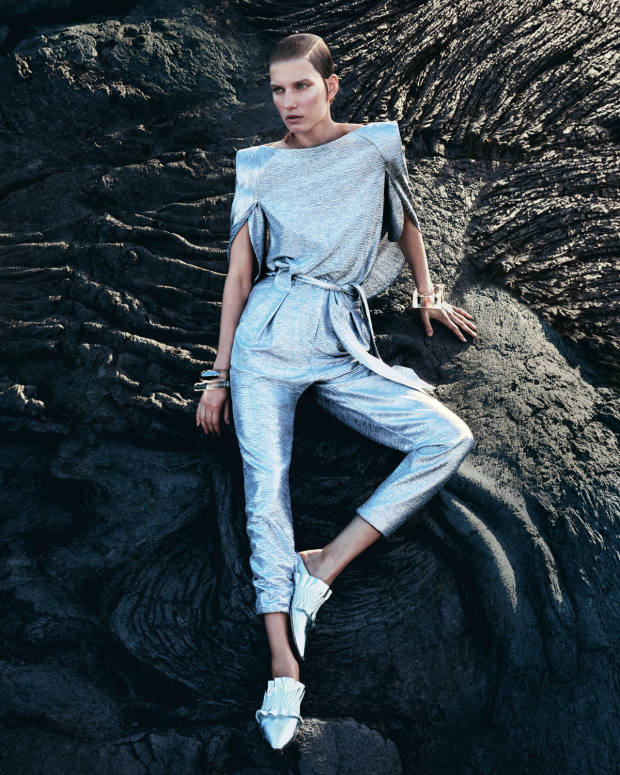 Talbot Runhof mirrorball stretch top, €669, and matching trousers with belt, €639. Unützer for Talbot Runhof shoes, €449. Pebble London resin bracelets, from £45