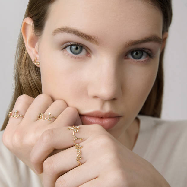 Dior yellow-gold Oui double ring, £1,500