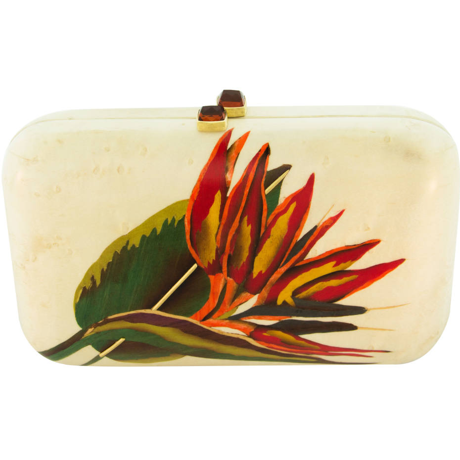A signature flower design on one of Silvia Furmanovich's clutch bags, price on request