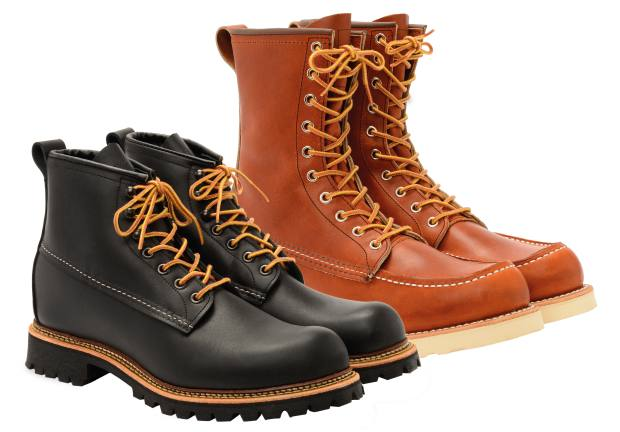 From left: Red Wing Shoes leather Ice Cutter boots, £289, and leather Moc Toe boots, £269