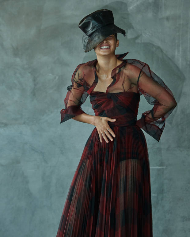 Dior cotton shirt, £1,500, cotton dress, £6,500, and lambskin hat, £890