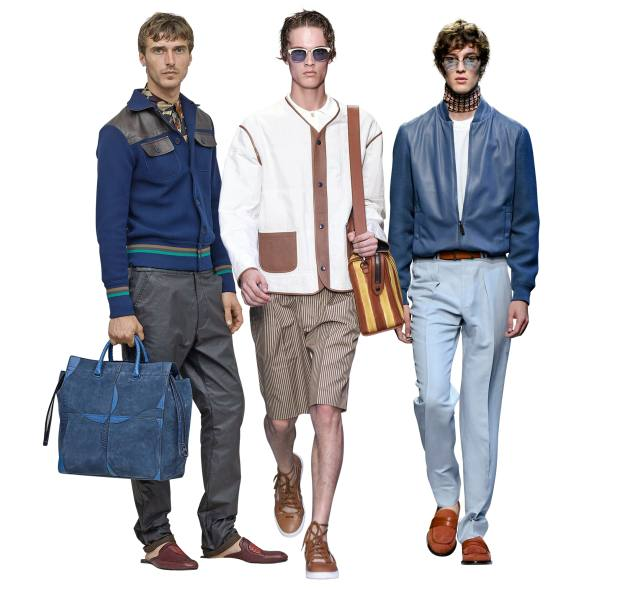 From left: Bottega Veneta cotton/nylon and leather cardigan, £1,835. Fendi cotton and leather cardigan, £3,470. Canali leather and lambskin cardigan, £1,580