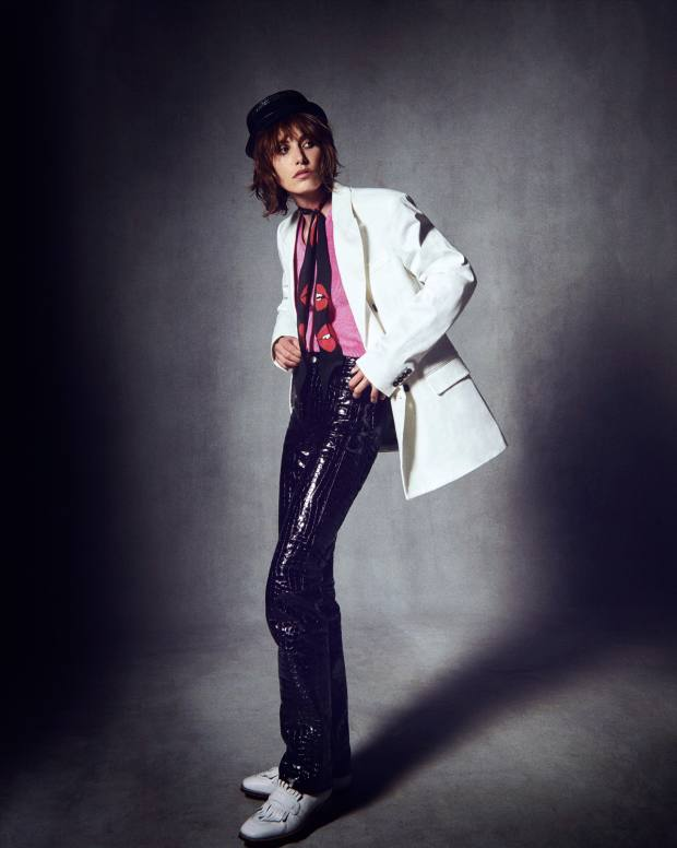 Ermanno Scervino cotton jacket, £1,680. Balenciaga velvet knit top, £685, and crocodile embossed leather trousers, £2,395. Grenson leather Luna shoes, £235. Saint Laurent by Anthony Vaccarello straw hat, £385. Rockins Glam Rockins silk scarf, £85