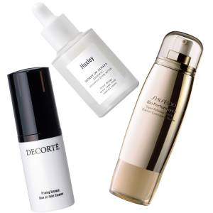 Clockwise from left: Decorté Priming Essence, £62 for 30ml. Huxley Brightening Essence Brightly Ever After, £38 for 30ml. Shiseido Bio-Performance Super Refining Essence, £73 for 50ml