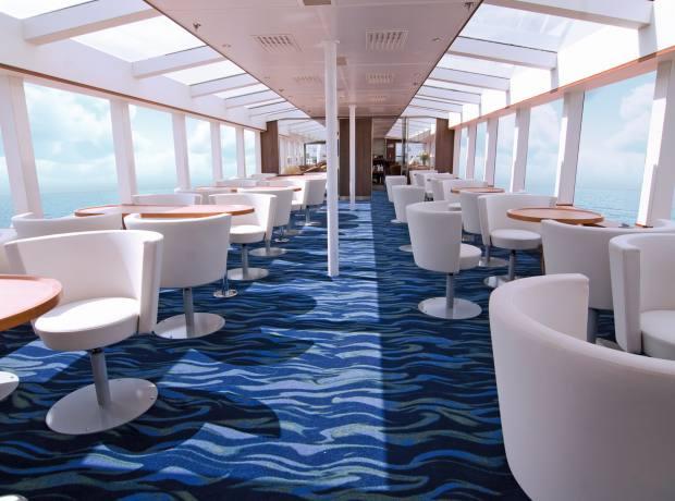 The observation lounge on board Lindblad's National Geographic Explorer.