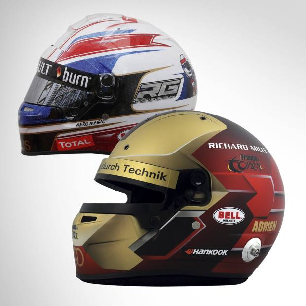 From left: A helmet designed for Lotus driver Romain Grosjean by Eric Milano of Aero Magic, €7,000. Bell Racing's design for German Touring Car Masters racer Adrien Tambay, based on the Iron Man comic