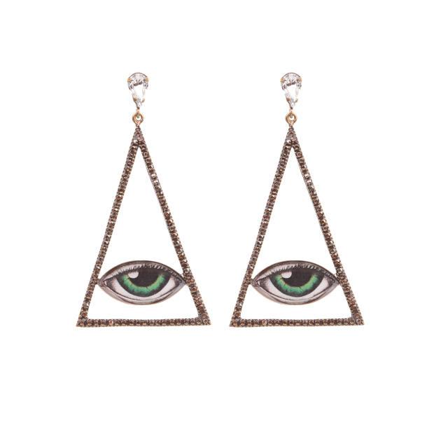 T Arrigoni Swarovski-crystal and old-gold-plated brass evil‑eye earrings, £90