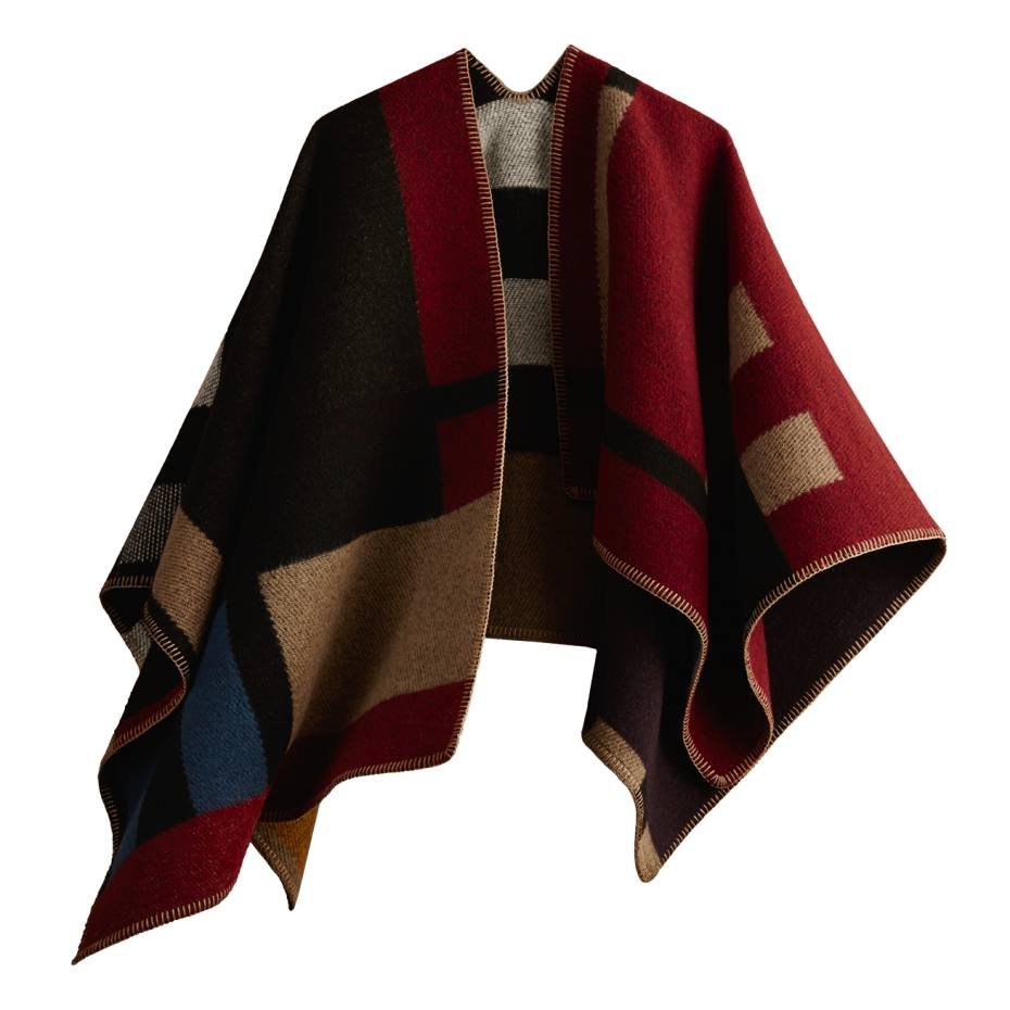 Burberry reversible check blanket poncho in wool/cashmere with monogramming, £1,095