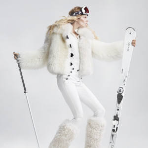 Louis Vuitton sheepskin jacket, £4,861, and ribbed wool polo shirt, £730. Isabel Marant cotton Nepos trousers, £275. Moncler faux fur and leather boots, £1,030. Oakley Jamie Anderson Signature Series Crowbar goggles, £120. Black Diamond Boundary Probe ski poles, £100. Atomic Cloud 8 skis, £315