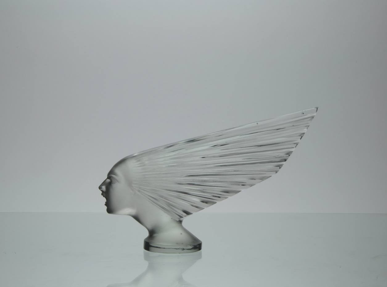 Impressive René Lalique glass car mascot entitled 'Victoire' or 'Spirit of the Wind' by René Lalique, 1928, France, £21,500 from LAPADA accredited dealer Hickmet Fine Arts