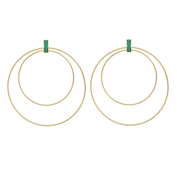 Ileana Makri gold and emerald Double Orbit earrings, €3,200