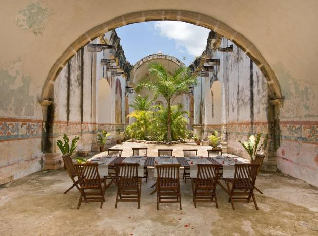 Dining in the old chapel at Hacienda Xocnaceh