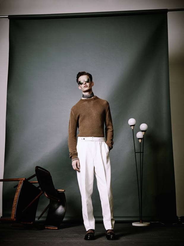Ermenegildo Zegna Couture cotton/linen gabardine trousers, £850, and cashmere crewneck, £630