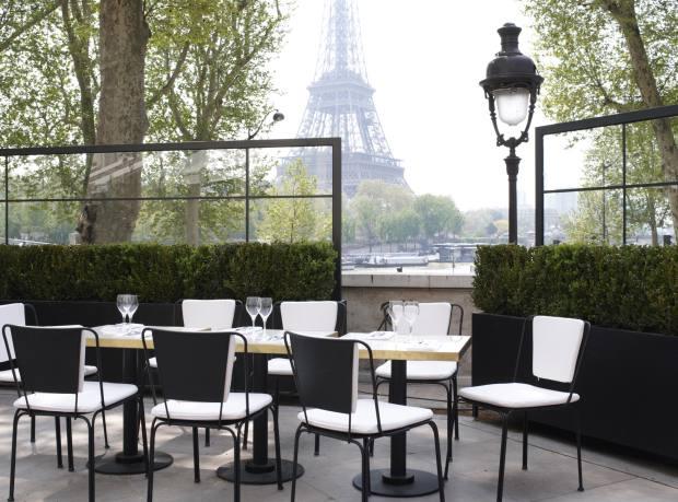 The terrace at Monsieur Bleu restaurant in the Palais de Tokyo