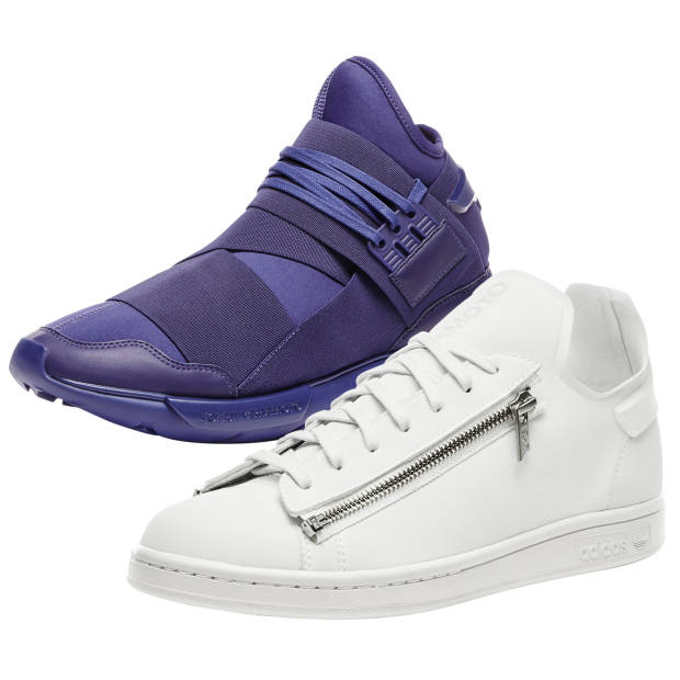 From top: Y-3 Qasa leather and textile trainers, £270. Y-3 leather Stan zip trainers, £220