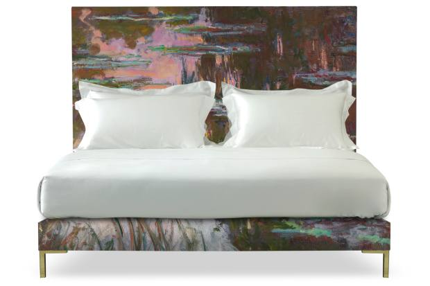 Savoir Beds' Harlech bed with Claude Monet's Water-Lilies, Setting Sun from the National Gallery, printed by Andrew Martin, £28,885