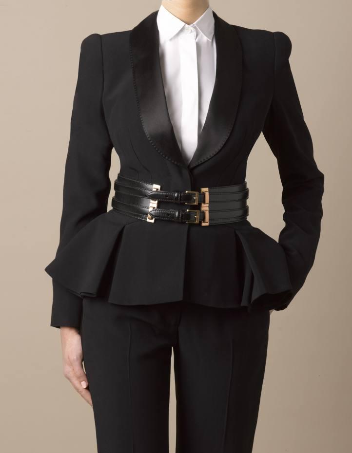 4831e0156a3 Leaf crepe tuxedo suit, £2,220, peplum detail blouse, £650, double