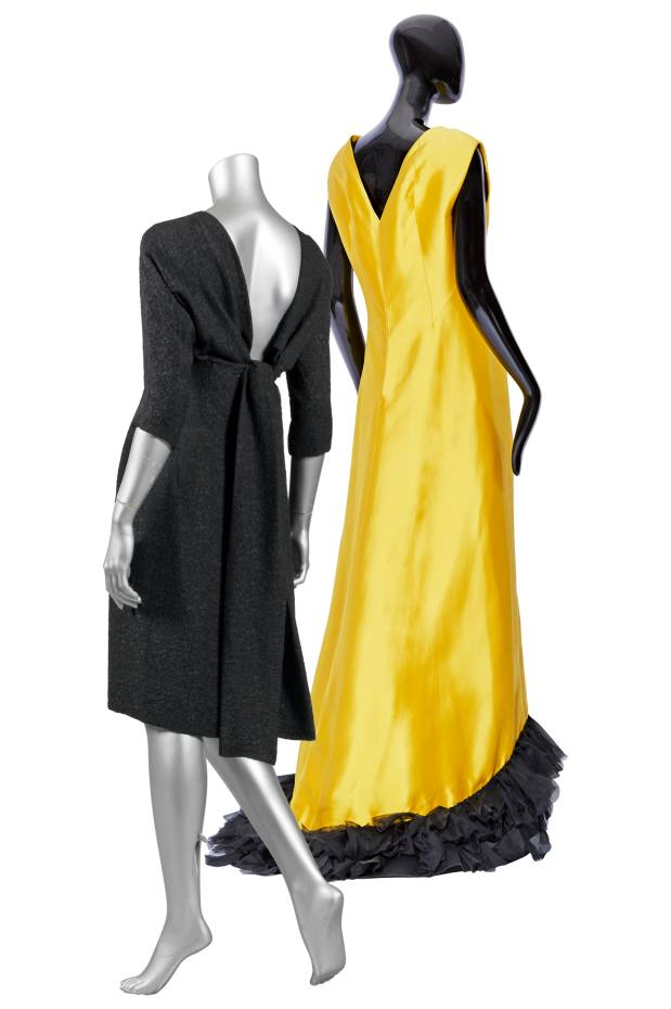 From left: Audrey Seo's 1960s silk cloqué dress. 1968 silk zibeline and organza gown, sold for £2,442 at Sotheby's Paris