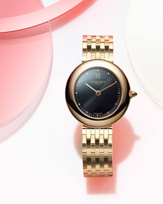 Chaumet's Boléro watch also comes in rose gold with a black dial