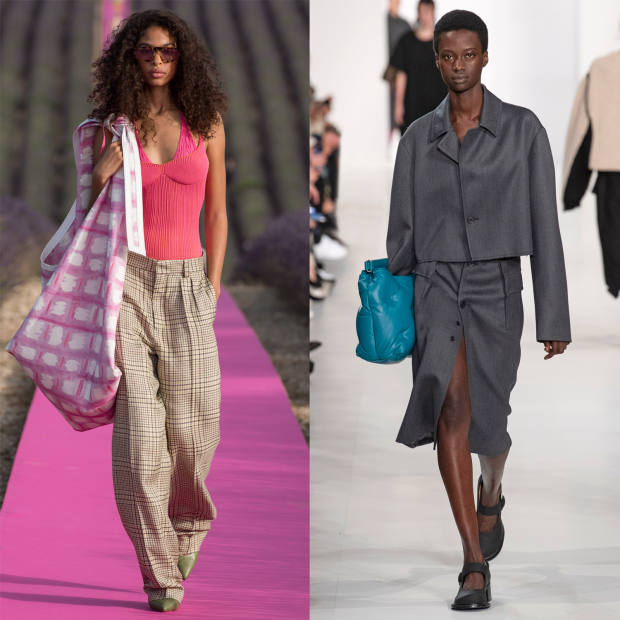 From left: Jacquemus printed bag, £672. Maison Margiela leather bag, £1,610