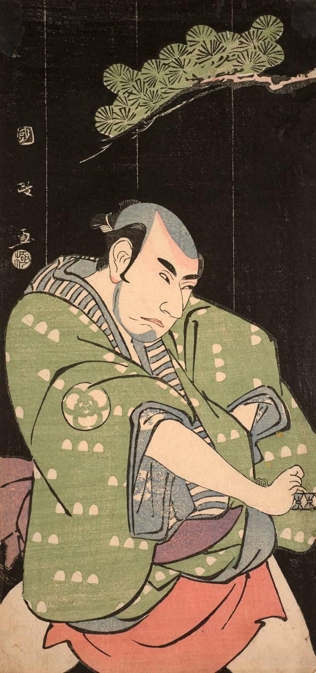 Hosoban tate-e, portrait of actor Bando Mitsugoro II by Utagawa Kunimasa, estimate €4,000-€6,000
