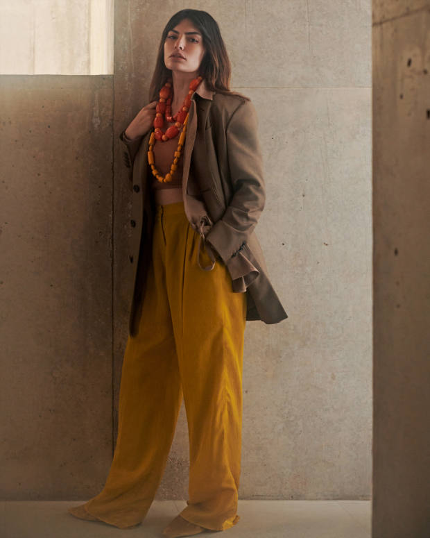 Dunhill kid mohair jacket, £1,895. Joseph viscose Mandelieu jacket, £295. Roberto Cavalli viscose top, £230. Agnona technical silk trousers, £895. Stella McCartney satin ballerinas (just visible), £495. Pebble London short sea bamboo necklace, £210, resin bead necklace, £165, and long resin bead necklace, £60