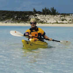 Richard Montague paddling off Great Guana Cay.