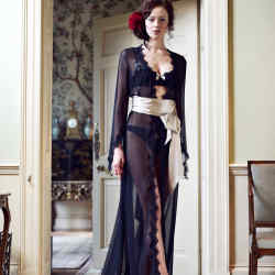Silk georgette Duchess of Warwick gown, £695, matching silk and lace bra, £119, and briefs, £85